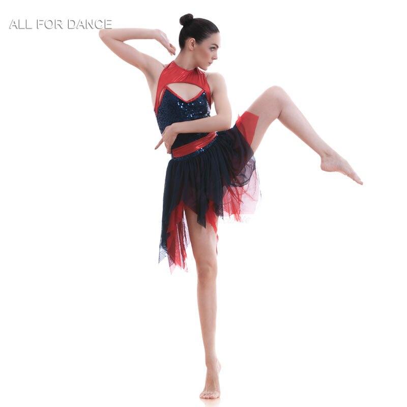 A18706 nouveauté bleu marine Sequin corsage Ballet Costume robe femmes & fille lyrique contemporain robe danse Costume