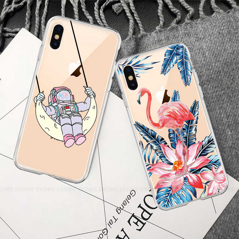 Kartun Kucing Bunga Jantung Ponsel Case untuk iPhone 7 8 X XR X MAX Lembut TPU Cover untuk iPhone 6 6S 7 8 PLUS 5 S Bersih Pola Kasus