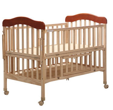 Baby Cribs Bedding Solid Wood Pine Baby Bed Trolley With