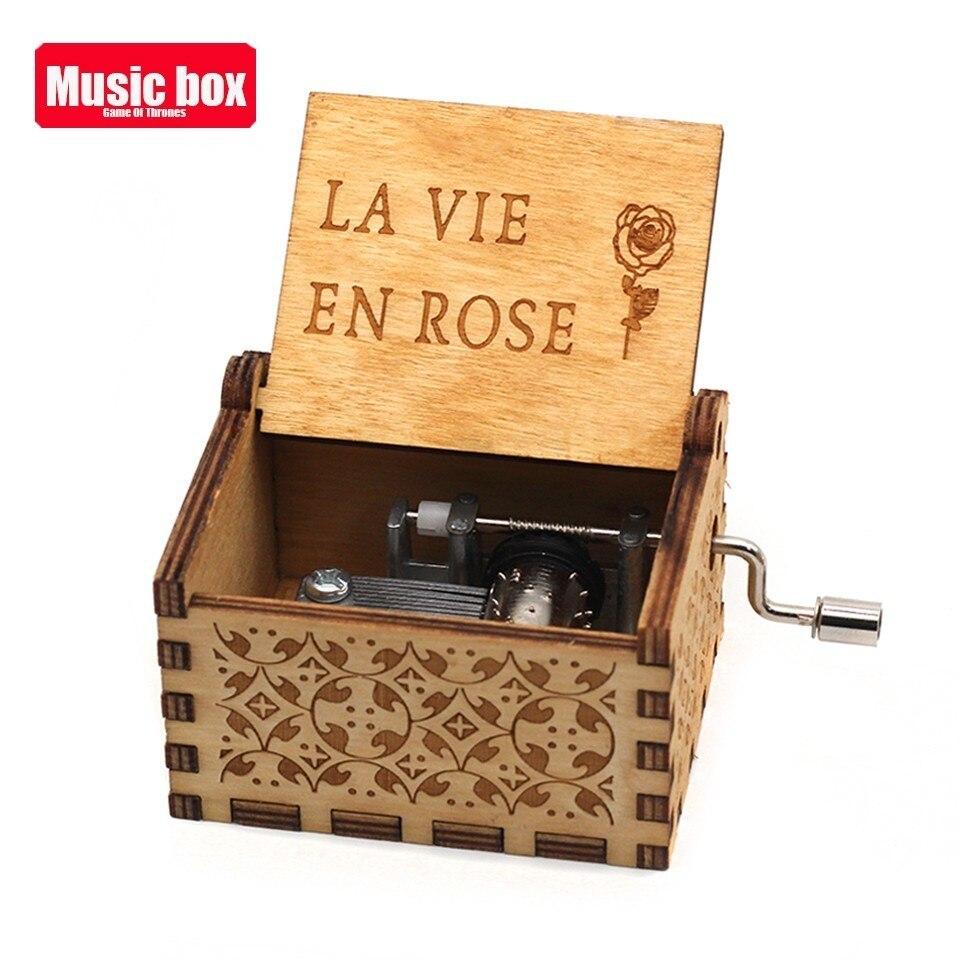 Новая музыкальная шкатулка La Vie En из розового дерева, крутые подарки на день рождения, детская вечеринка, Звездные войны, игра на трон, детские подарки - Цвет: La vie en rose