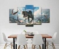 5 Panel Modern Art Jurassic Park Dinosaurs Modular Framed Painting Canvas Art for Study Living Room HD Print on Canvas