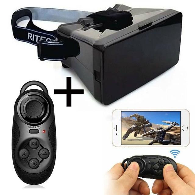576d27080605b 2015 Google papelão realidade Virtual VR celular 3D óculos 3D filmes jogos  + Bluetooth Controller Gamepad