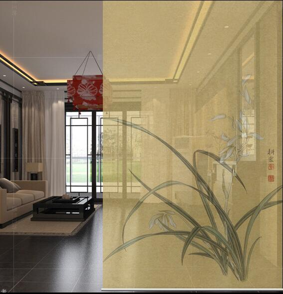 Nouveau style chinois suspendus écran doux coupe entrée obturateur porte rideau créatif rouleau orchidée BiomboSirma cloison obturateur