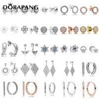 DORAPANG 100 925 Sterling Silver Earrings Flower Type Hollow Ear Studs Charm Beads Fit Bracelet DIY