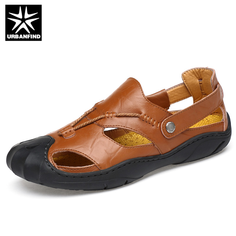 URBANFIND Men Casual Leather Sandals For Home Beach Size 38-46 Classic Style Male Brand Fashion Summer Shoes Leather Slippers