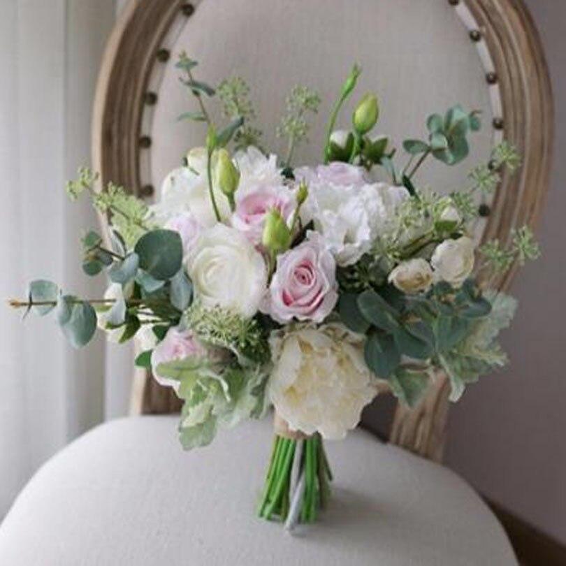 Pink Flower Wedding Bouquet: SexeMara White Light Pink Bride Wedding Bouquet Holding
