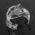 Ampla Artística Ródio Prata Oco Out Zircon Cristal Sotaque Flor Forma Filigrana Bracelete Aberto
