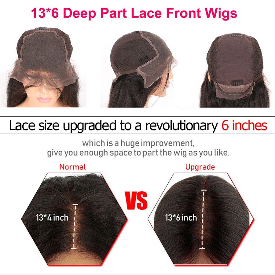 13*6 глубокая часть фронта шнурка человеческих волос парик прямой Выделите цвет волос предварительно выщипанные волосы линия отбеленные узл... - 3