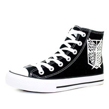 The Scout Regiment Luminous Shoes Attack on Titan Canvas Shoes Hand Painted Cartoon Anime Shoes Men High Top Casual Sneakers