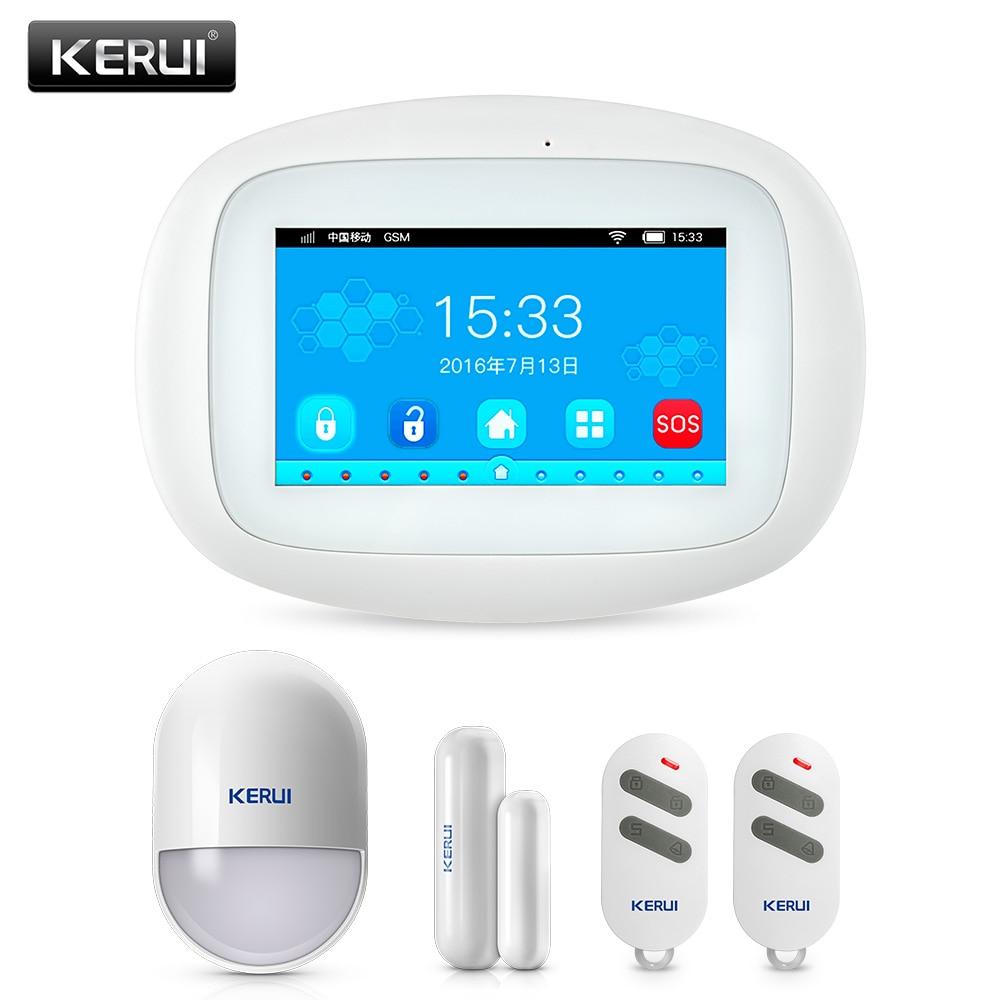 KERUI 4.3 inch TFT Color Screen Wireless Security Alarm WIFI+GSM Alarm System PIR Motion Sensor Door Sensor