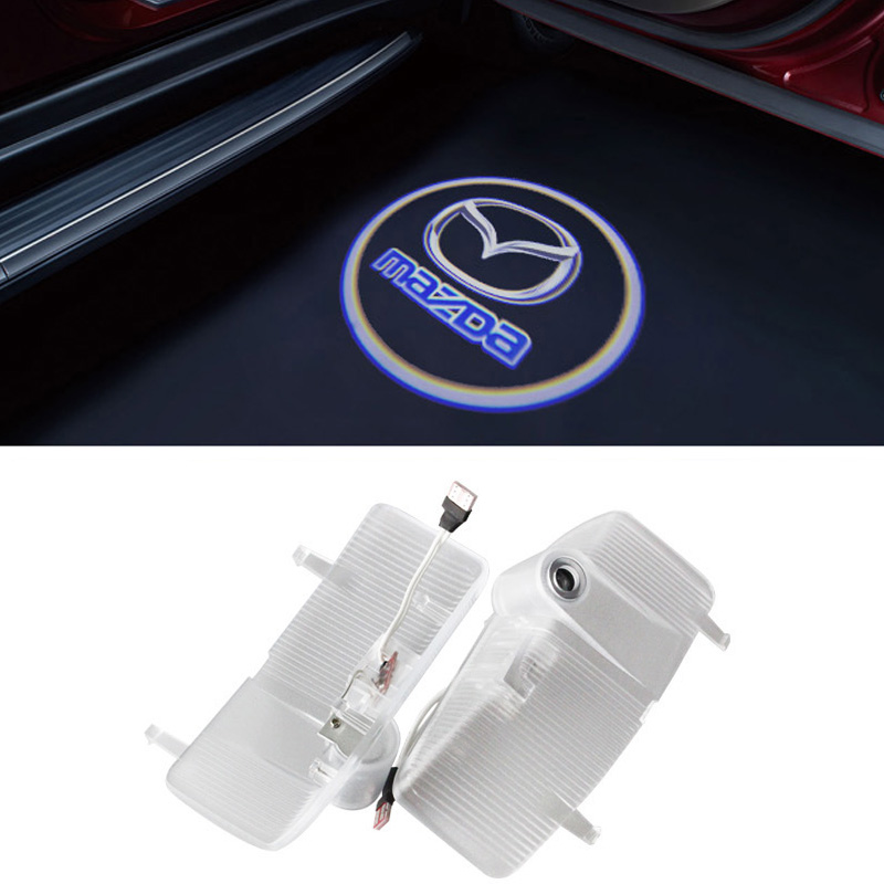 2pcs Newest LED Car door Light Ghost Shadow Laser Projector Logo Courtesy Step For Mazda 6 2004-2013 2 newest ghost shadow light laser logo projector light led car logo courtesy door lamp for citroen aircross berlingo ds c series