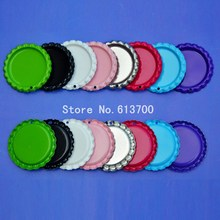 Wholesale 1000 pcs/lot Colored Flattened Bottle caps Flat Bottlecaps Metal Beer Bottle Caps With Holes For Jewelry Craft
