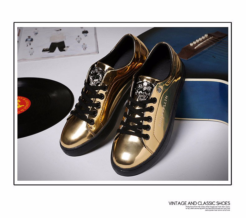 KUYUPP 2016 High Quality PU Patent Leather Men Flats Shoes Leopard Head Sequined Skate Shoes Round Toe Lace Up Men Flat Heel Y31 (19)