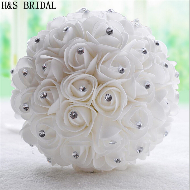 online shop crystal white ivory wedding bouquet bridesmaid