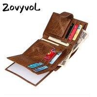 f2bf597b3 ZOVYVOL 2019 Vintage Men Wallet Short Vertical Wallet Cow Leather Male  Brand Design Zipper Coin Purse