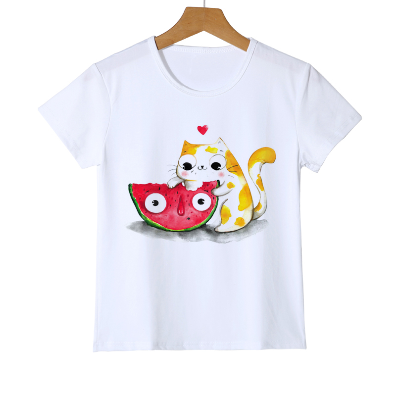 Fashion Pizza And Cat Short Sleeve Design Kids T-Shirt New Boys/Girls/Baby TopsTee Novelty Cute Cat Printing Tee Shirts Z21-2