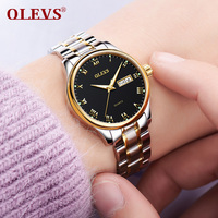 OLEVS Brand Luxury Woman Watch Stainless Steel Ladies Watch Date Luminous Quartz Women Watch Leather Lady Waterproof Wristwatch