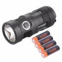 Manker MK41 1500 Lumens Cree XHP35 HI LED Flashlight Compact Searchlight + 4x 750mAh Rechargeable 14500 Batteries