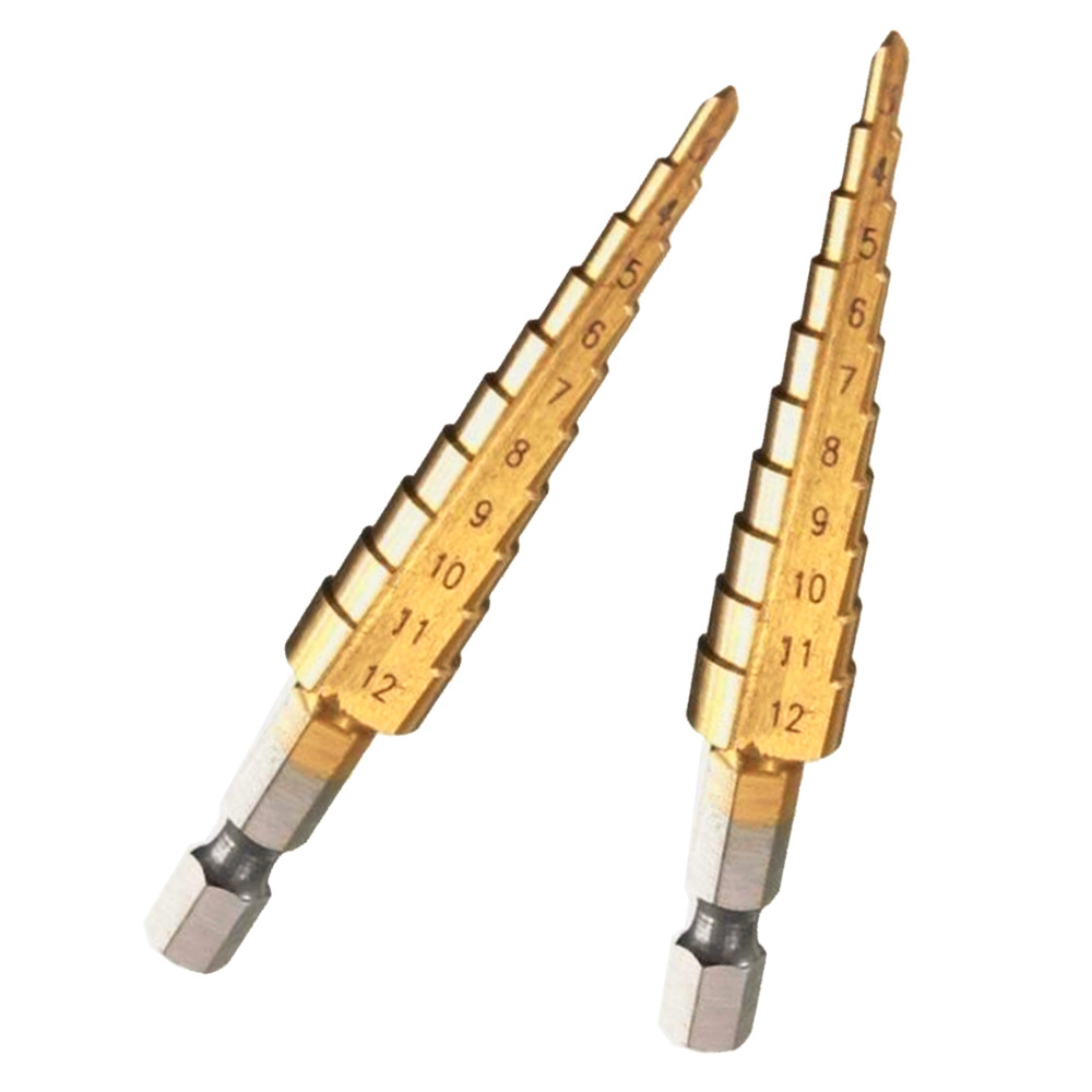 3-12mm HSS Titanium Coated Stepped Drill Bits 1/4 Hex Handle Power Tool Carbide Drill Mini Drill Bit Set Wood PCB Metal Drilling 11in1 micro hss twist drill bit 0 5 3 2mm mini manual hand drill chuck plastic wood metal plastic drilling tool power tool