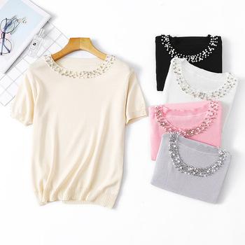 Diamenty koszulka kobiety dzianiny koszulki damskie 2019 Vogue eleganckie koszulki dzianiny kobiety O Neck z krótkim rękawem topy tanie i dobre opinie Poliester Octan Aplikacje Tees Stałe REGULAR WOMEN O-neck Na co dzień
