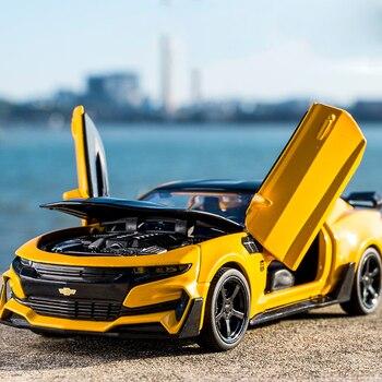 KIDAMI Camaro 1:32 odlew ze stopu Model auta z napędem wstecznym dźwięk światła dzieci samochody zabawki kolekcja pojazdy na prezenty dla dzieci машинки