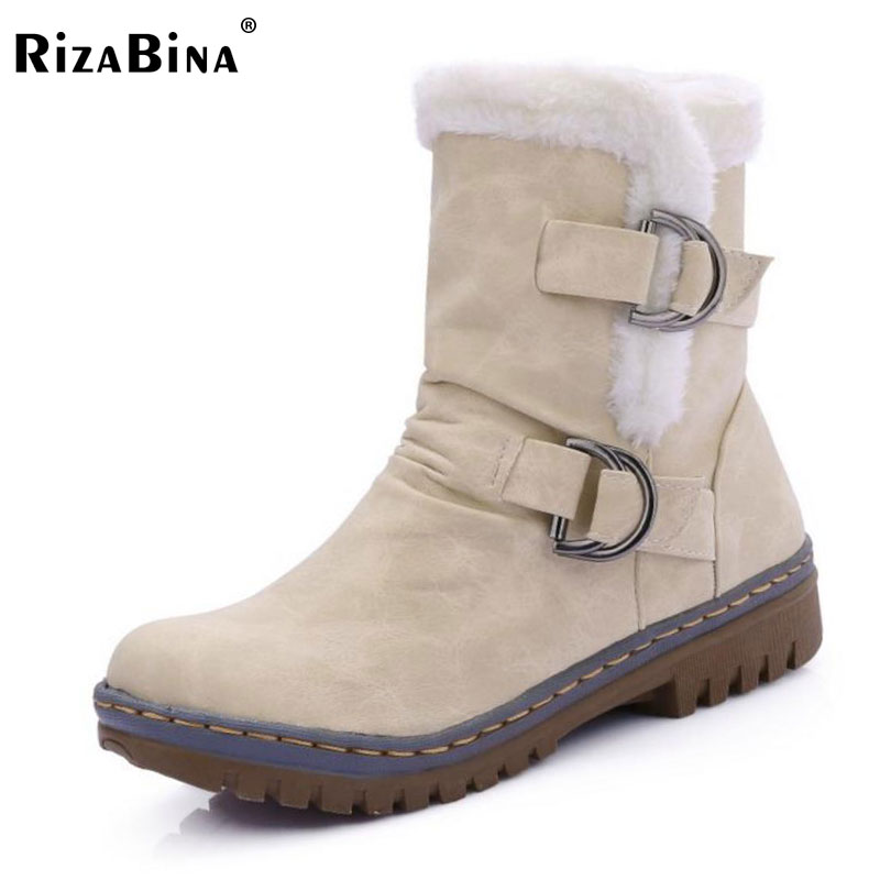 RizaBina Women Round Toe Ankle Boots Woman Warm Fur Winter Snow Boots New Fashion Buckle Style Footwear Low Heel Shoes Size34-43 prova perfetto winter women warm snow boots buckle straps genuine leather round toe low heel fur boots mid calf botas mujer