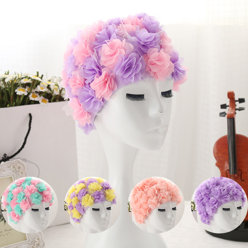 designs 3d dimensional lily flowers women swimming cap coloful sports swim pool beautiful hat free size