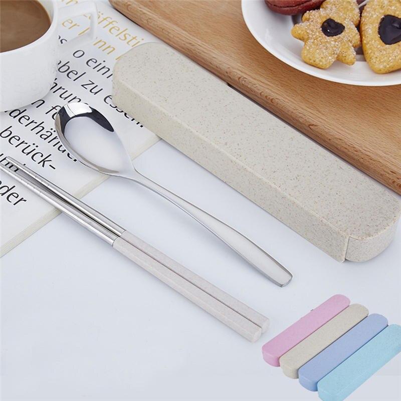 2019 New 2PCS Set Stainless Steel Upscale Dinnerware Flatware Cutlery Spoon Chopsticks travel picnic Portable Tableware @C