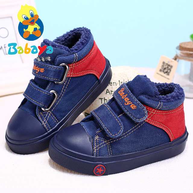 2016 brand design Winter washed Jeans soft solid fashion snow boots boys girls baby infant child first walker flats ankle boots