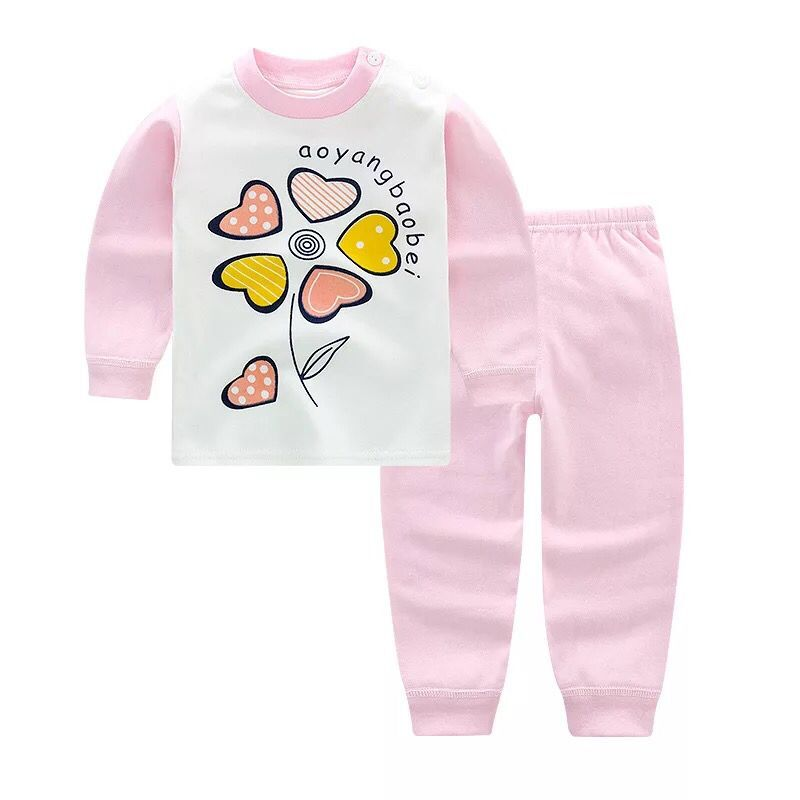 Baby Girls Pajamas Clothing Sets Cartoon Sleepwear Suit Long Sleeve Cartoon Pajamas Home Wear Soft Cotton T-shirt+Pants Clothes baby boy girls kid cartoon clothing pajamas sleepwear sets nightwear outfit children clothes
