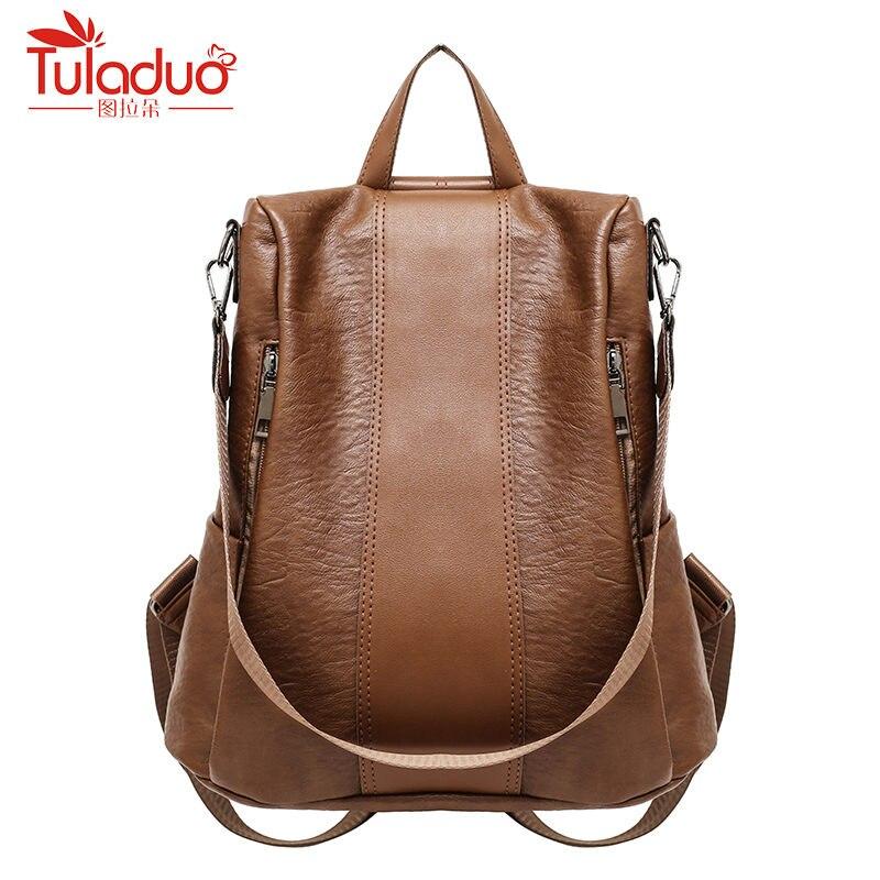 2018 femmes Pu cuir sac à dos solide sac à dos femmes sac à dos pour adolescentes sac à dos sac à bandoulière célèbre marque Mochila