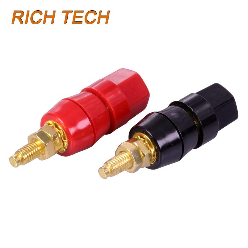 Red+Black Gold Plated Amplifier Speaker Terminal Binding Post 4mm Banana Plug