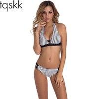 TQSKK 2017 Nuevo Halter Bikinis Mujeres Traje de Baño Retro del traje de Baño Femenino Bikini Brasileño Set Verano Plaid Recortable Traje de Baño de Natación