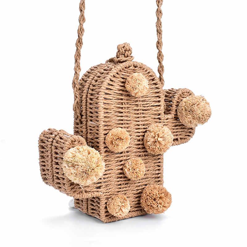 2019 New High Quality Beach Bag Cactus Rattan Bag Straw Bag Summer Bags With Pom Pom Women Messenger Handbag Braided