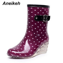 Aneikeh New Women Fashion High Heel Wedges Short Rain Boots Floral Waterproof Ankle Rainboots Woman Water Shoes Wellies
