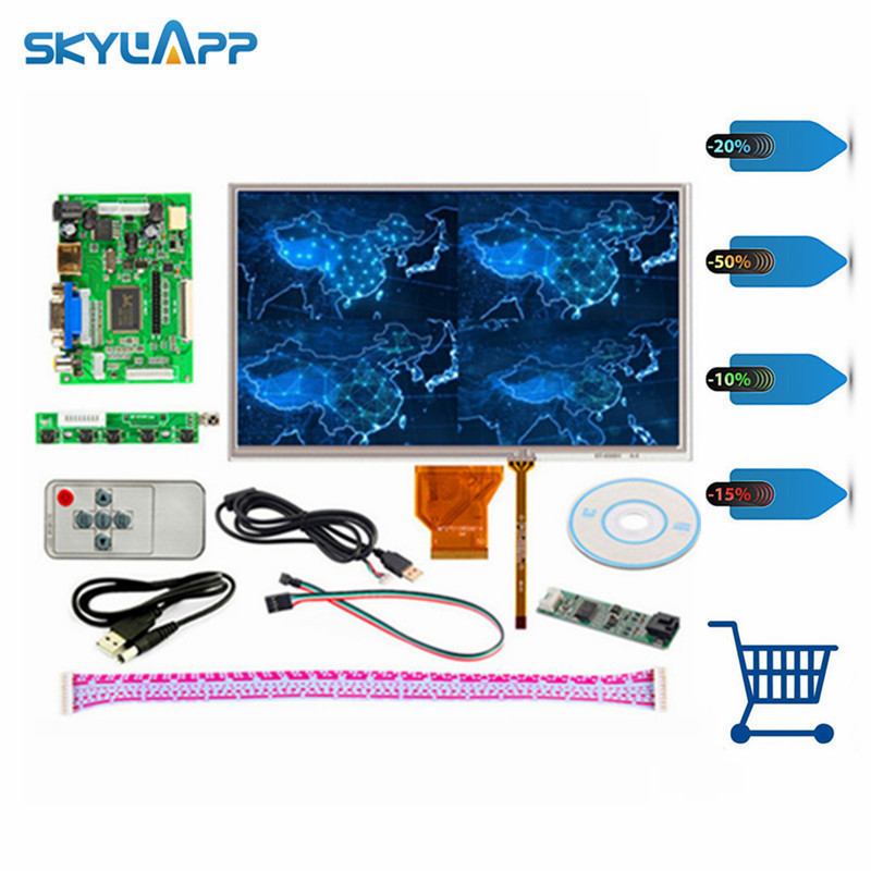 skylarpu 9 inch display for AT090TN10 HDMI/VGA Digital LCD Driver Board with Touch Screen for Raspberry Pi LCD Free shipping