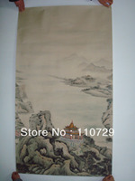 House Decoration material Hand painted silk wallpaper painting landscape many pictures optional