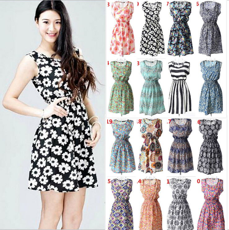 19 Styles Hot Sale Trend Printed Chiffon Tank Dresses For