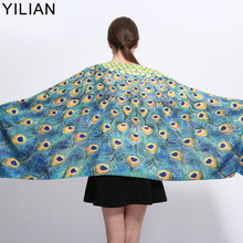 YILIAN Brand Newest Fashion Peacock Print Spain Cashmere Shawl Winter Women Pashmina Fashionable Blue Scarf Women LA087