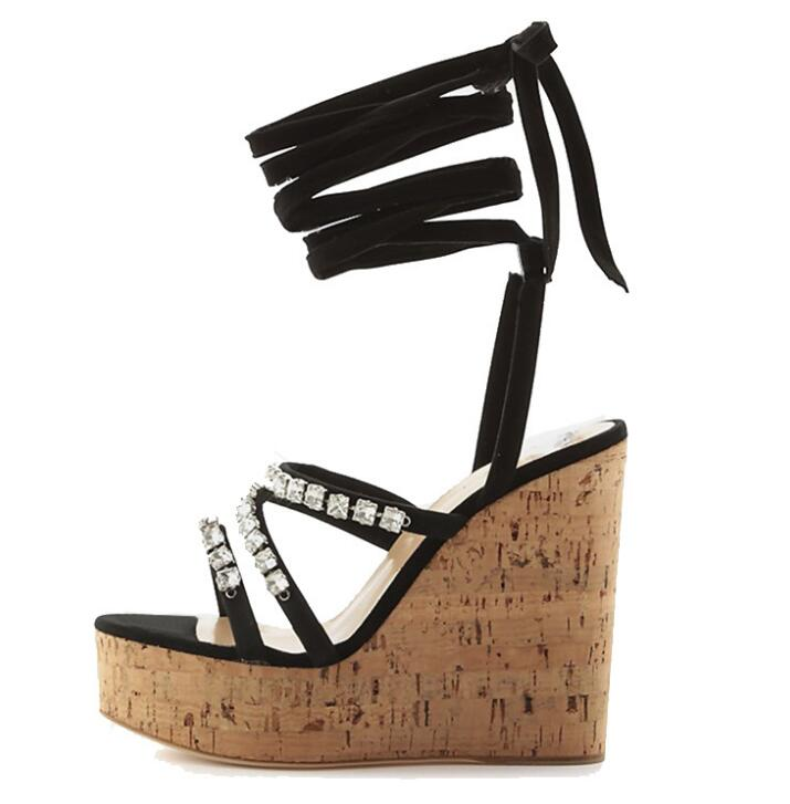 Sexy Wood Grain Crystal Wedges Sandals Women Cross Straps High Heel Shoes Black Large Size Customzied Shoes Summer Party Sandal 2018 plus big size 32 43 orange black white rivets fashion sexy high heel summer females lady women wedges sandal slippers l715
