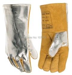 Opinie ciepła promieniowania skórzane rękawice spawalnicze 2 par bezpieczeństwa skóry TIG MIG rękawice krowy skóra Split rękawica spawalnicza