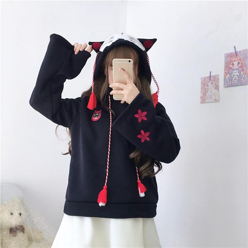 Japanese New Kawaii Embroidery Anime Women Hoodies Mori Girl Tassel Lazy Plus Velvet Long Sleeves Casual Sweet Hoodie Sweatshirt