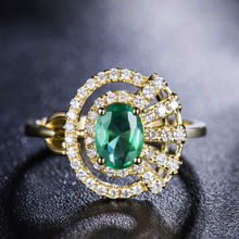 Natural Diamond Emerald Ring  Oval 5x7mm  In Solid 18Kt Yellow Gold, Real Gemstone Fine Jewelry For Sale WU317