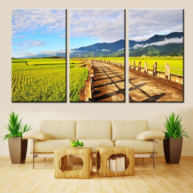 Горячие некадрированным холст картины современных нефти Холсты для живописи фотографии осенний пейзаж настенные панно для комнаты Модульная картина 3 шт.