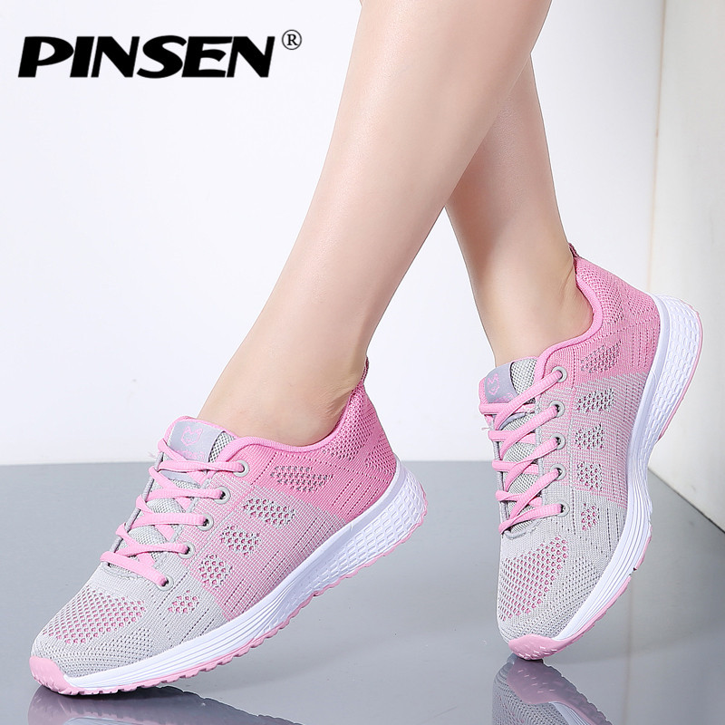 PINSEN 2019 Sneakers Women High Quality Breathable Summer Lace-Up Casual