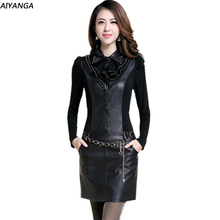 High Quality PU Dress for women 2018 Women's Autumn Winter Long-Sleeve Casual Plus Size Sexy Patchwork Party Dresses Female