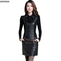 High Quality 2014 Women Long Sleeve PU Casual Autumn Winter Dress Fashion Sexy Evening Dresses Free