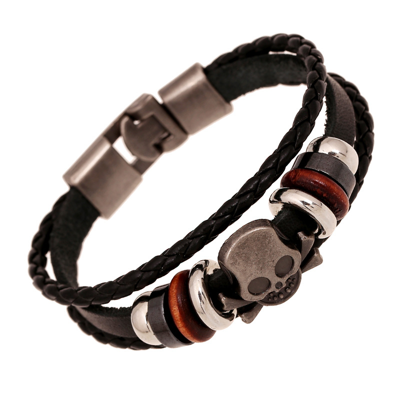 ᑎ‰Leather Braided Handmade ₪ Bracelets Bracelets skull ...