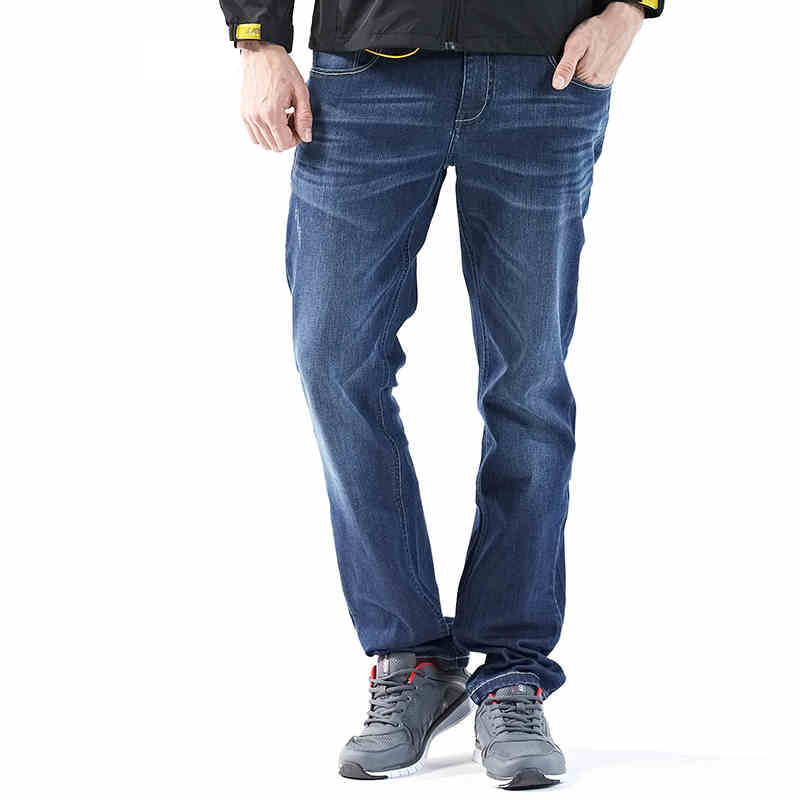 Fashion Solid Mens Spring Autumn Casual Cotton Jeans Men Classic Denim Pants Middle Waist Straight Trousers Loose Jeans Homme new design skinny mens jeans men brand fashion male casual cotton slim straight elasticity pants loose waist long trousers denim