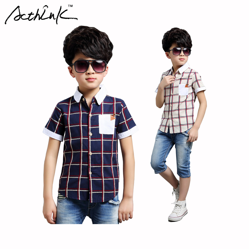 Acthink Gentle Boys Short Sleeve Plaid Dress Shirts Boys Summer